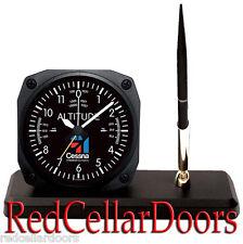 New TRINTEC CESSNA LOGO ALTIMETER Desk Pen Set Classic Altitude Alarm Clock