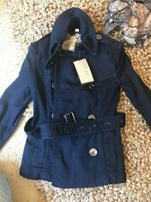 Burberry Brit Double Breasted Stretch Denim Coat Jacket NWT 2 36 Belt $998 *rare