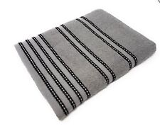 10 X STRIPED 100% COMBED COTTON SOFT ABSORBANT BLACK GREY BATH SHEET TOWEL