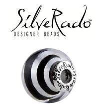 Genuine SilveRado 925 silver SILVER STRIPE extra large Murano Focal charm bead