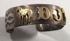 "Very Small Vintage Indian Sterling Silver ""DJ"" Horses Stampwork Bracelet Cuff"