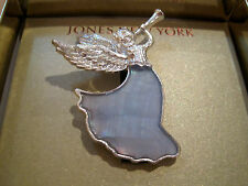 Angel~Glass~Boxed Holiday Christmas Pin Jones New York~Silver~Blue Mop Herald