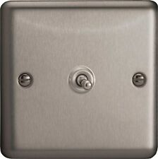 XST1 Varilight 1 Gang,1 or 2 Way 10 Amp Toggle, Brushed steel light switch