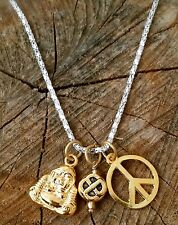Karma Gold Tone Compassion Buddha Love Knot Peace Sign Necklace Amulet