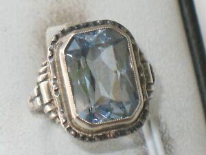 JUGENDSTIL SILBER Ring SUPER DESIGN toller AQUAMARIN ausgefallen um 1900