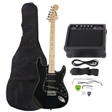 New 22 Frets ST Burning Fire Electric Guitar Black with Bag & 15 AMP