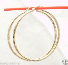 "2mm X 45mm 1 3/4"" Large Diamond Cut Hoop Earrings Real 10K Yellow Gold 2.50gr"