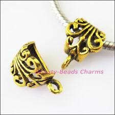 8Pcs Antiqued Gold Flower Bail Bead Fit Bracelet Charms Connectors 12x17mm