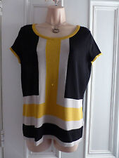 Principles by Ben de Lisi UK12 black short sleeved thin knit top mustard beige