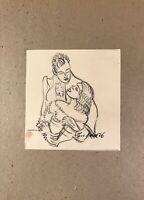 Georg Schott *1906 Portrait Mann Frau Blicke vor dem Kuss  Liebespaar Skizze