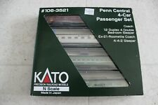 Kato N Scale Penn Central Four Car Passenger Set #106-3521