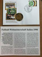 1 DM Münze 1990 vergoldet + Numisbrief zur Fußball WM 1990