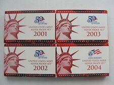 2001 Thru 2004 US Silver Proof Set Run Of 4 Consecutive Sets