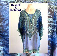 Crystal Embellished Kaftan M/L 14-22, Resort Wear, Tropical Print, Blue