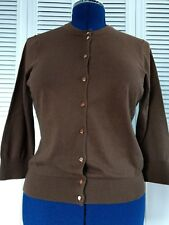 J. CREW SIZE SMALL CHOCOLATE BROWN 9 BUTTON CASHMERE/COTTON SWEATER CARDIGAN