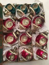 Vintage Shiny Brite Christmas Ornaments Double Indents Shapes Box