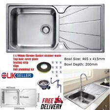 Stainless Steel Inset Kitchen Sink 1.0 Single Bowl Reversible Drainer Plumbing