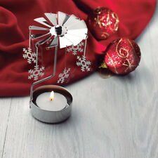 Rotary Spinning Candle Tealight Holder Snowflake Design Christmas Winter Metal
