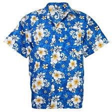 Hawaiian Shirt Aloha Hibiscus Chaba Leisure Beach Holiday Blue L hd265s