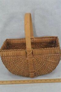 basket early hand made gathering market splint handle rectangle antiq original