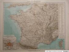 Debes - Landkarte von Frankreich, Paris, Corsica, 1894, Lithographie, Fischer