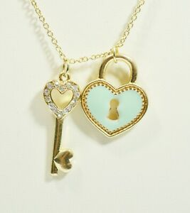 Gold Plated Green Heart Key CZ Light Delicate Chain 28 Inches Woman Necklace