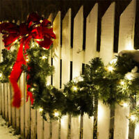 9FT Christmas Garland with LED Lights Door Wreath Xmas Pine Fireplace Decor