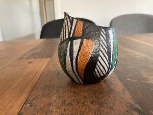 Tolle kleine Fischmaul RUSCHA Vase Keramik bunt Milano ?  50er Jahre Höhe 10cm