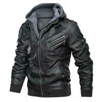 Men's PU Leather Hoodie Jacket Hooded Motorcycle Biker Zip Up Coat Outwear Q1C7