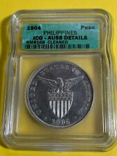 US PHILIPPINES ONE PESO 1904-P ICG AU-58 DETAILS CLEANED