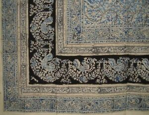 "Veggie Dye Block Print Tapestry Cotton Bedspread 108"" x 88"" Full-Queen Blue"
