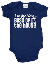 """Funny Baby Bodysuit """"I'm the New Boss of the House"""" Newborn Baby Gift Clothes"""