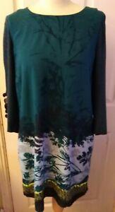 Ladies WHITE STUFF Dress Size 8  Dark green - 100% Viscose