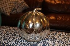 Pottery Barn Antique Mercury Glass Pumpkin LARGE Fall Thanksgiving Halloween