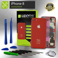 Backcover für iPhone 8 Rot  RED VORMONTIERT Gehäuse Rückseite + Tasten + Kleber