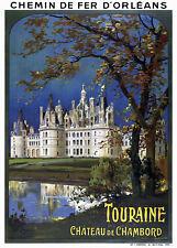 Affiche chemin de fer Orléans - Touraine Château de Chambord