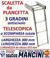 SCALETTA da plancetta a scomparsa 3 GRADINI TELESCOPICA INOX Barca Scala nautica