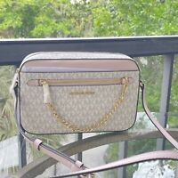 Michael Kors Women Crossbody Chain Bag Handbag Messenger Shoulder Purse Vanilla