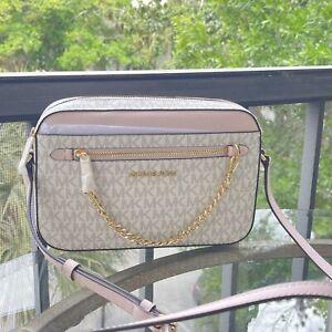 Michael Kors Women Crossbody Chain Bag Handbag Messenger Shoulder Purse Vanilla
