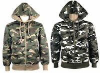 Men's Womens Summer Camo Fleece Jacket Jumper Sweatshirt Coat Outwear Full Zip