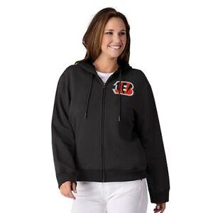NFL Cincinnati Bengals Officially Licensed Women's Full Zip Hoodie G-III Black
