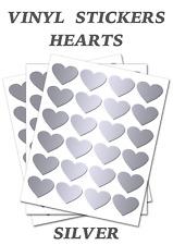 Silver Heart Stickers Self Adhesive Waterproof Vinyl Labels pack of 100  (20mm)
