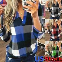 Women Casual  V-Neck Plaid Shirt Tops Plus Size Ladies Long Sleeve Jumper Blouse