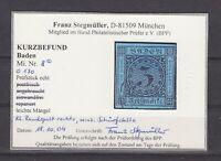 """Baden - MiNr. 8, 3 Kr., seltener Nr.-Stpl. """"170"""" BASEL - Kurzbefund """"Stegmüller"""""""