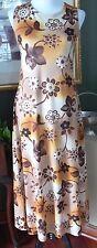 Vintage Jane Baar Mod 60s 70s Yellow/Brown Floral Maxi Tank Dress M