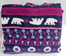 BLUE POLAR BEARS SNOWFLAKE FLEECE THROW Blanket 50 x 60 ULTRA SOFT