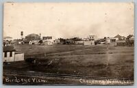 Cheyenne Wells CO Chickenseye* View~Water Tower~Downtown Hotel~RR Trax~RPPC 1917