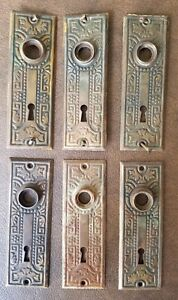 """Three Victorian mortise lock assemblies, with three pair of 5"""" ornate faceplates"""