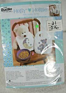 Plaid Bucilla Holly Hobbie Bib Pair Kit 45357 Cross Stitch Stamped Bear & Moon