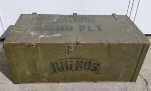 Vintage Wood Foot Locker US ARMY Military RHINOS Chest Trunk Storage Box Green
